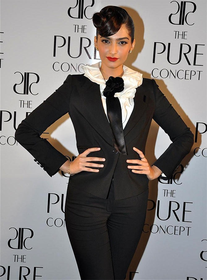 Sonam Kapoor Dressed in Suit with Unique Hairstyle