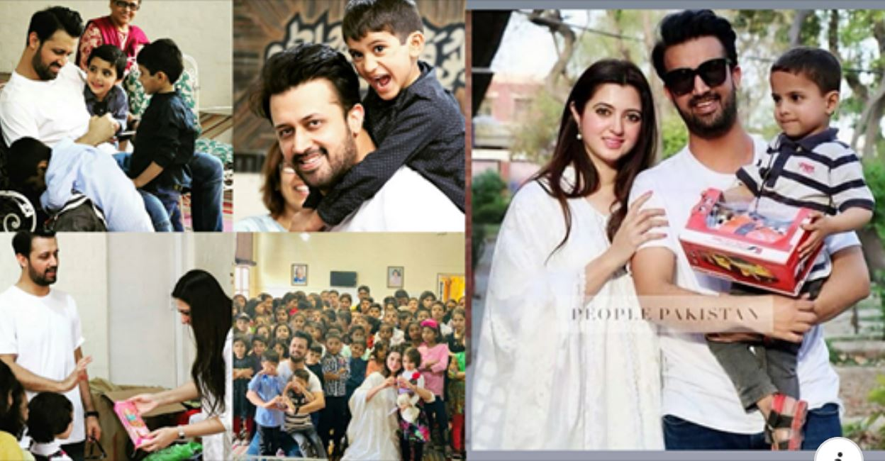 Atif Aslam & Wife Sara Latest Pictures with SOS Village Kids